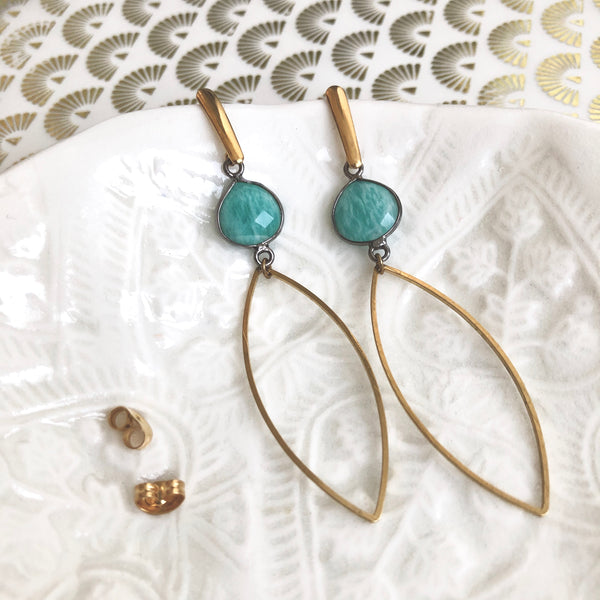 "Boucles ""Flāmme"" Amazonite"
