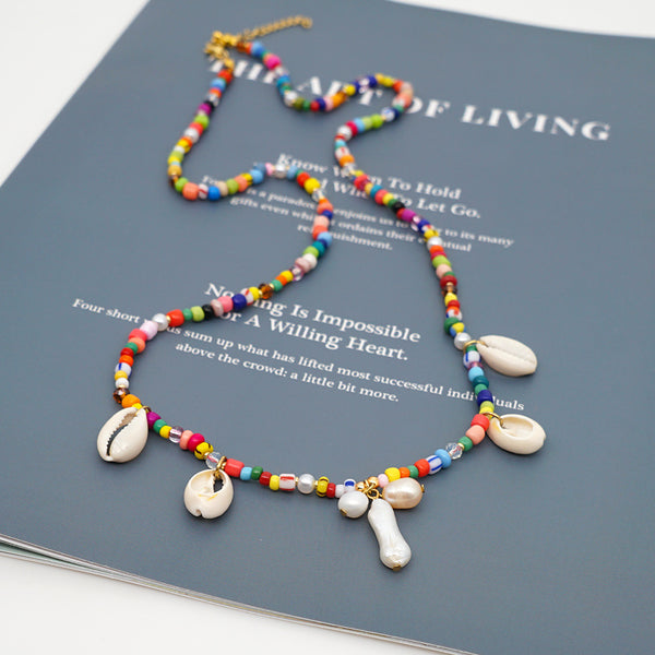 Pearl + Cowrie Charm Necklace - 11 & THOMS