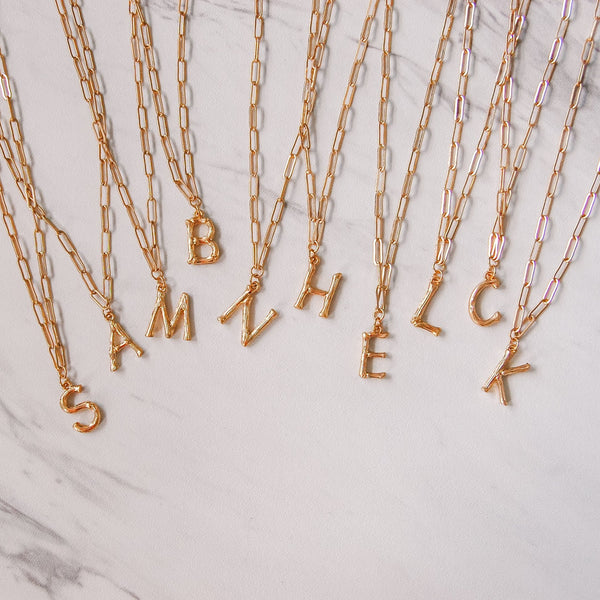 Bamboo Initial Necklace - 11 & THOMS