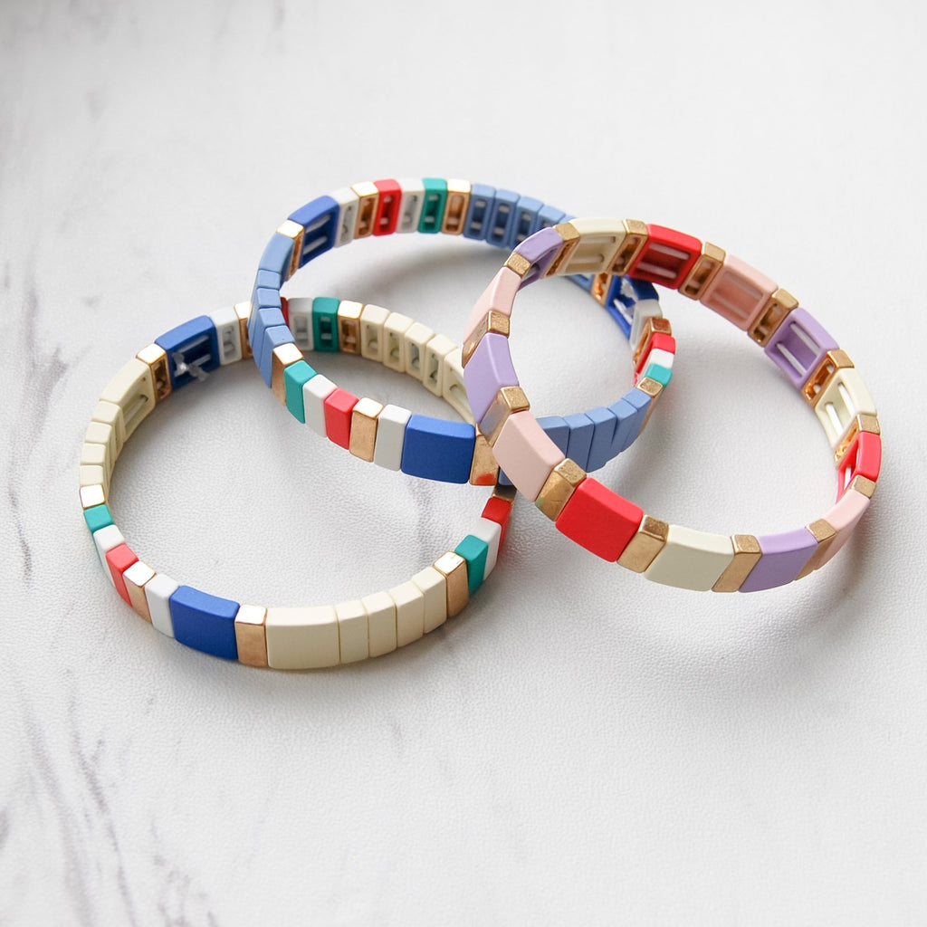 Color Block Stretch Bracelets - 11 & THOMS