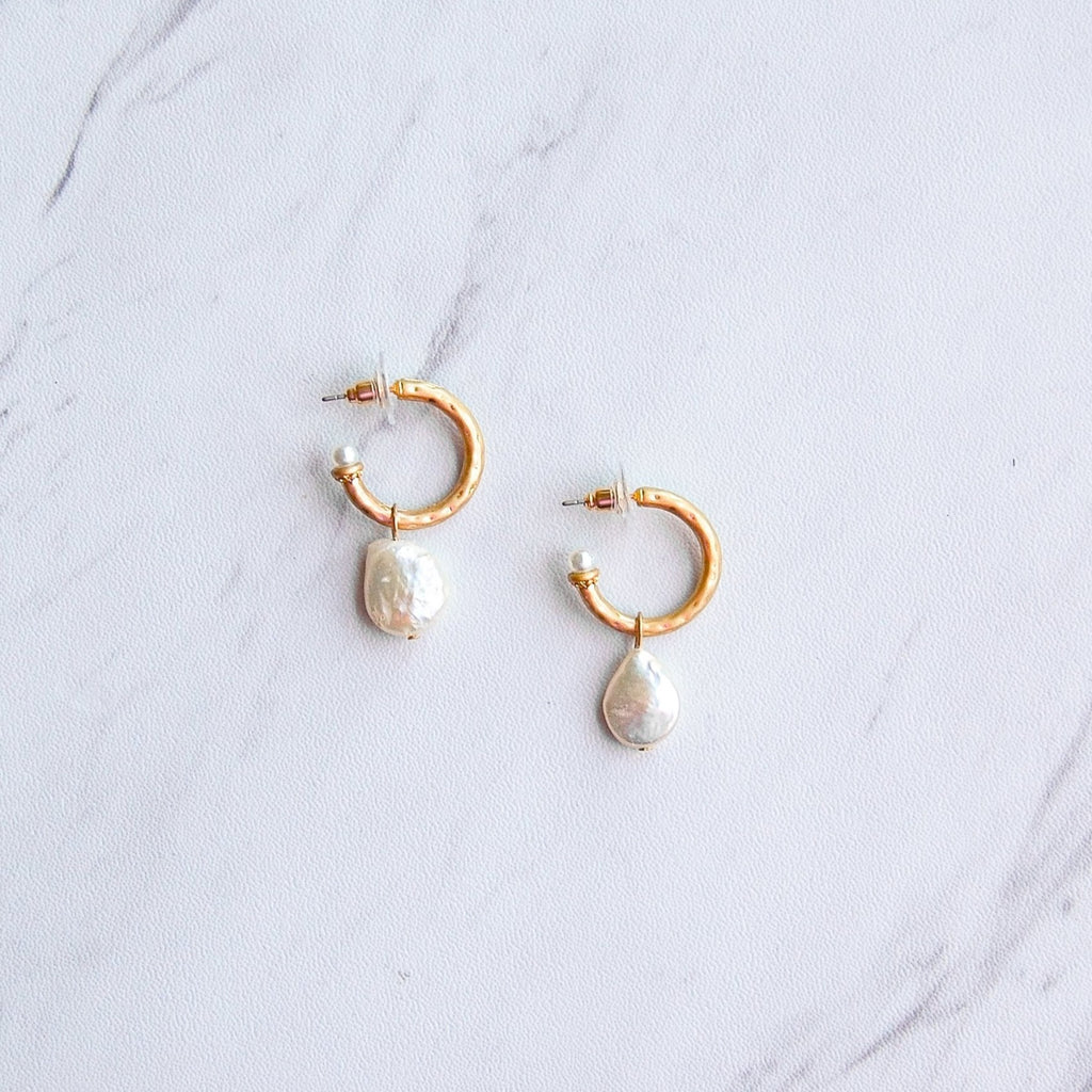 Rowan Pearl Hoop Earrings - 11 & THOMS