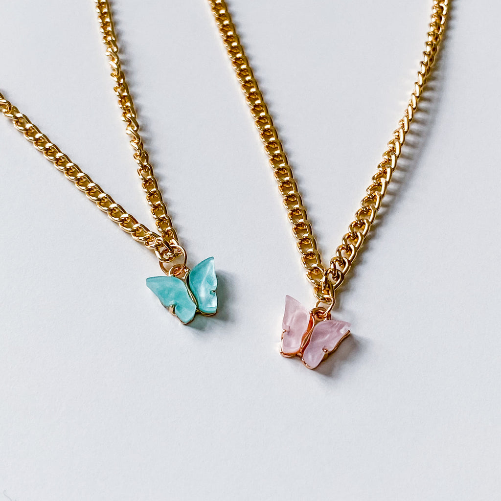 Acrylic Butterfly Necklace - 11 & THOMS