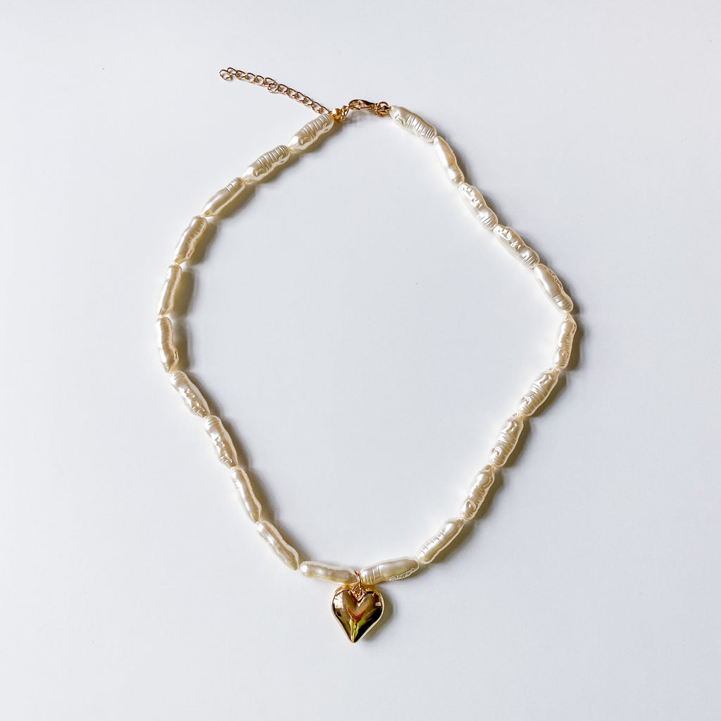 Pearl Heart Pendant Necklace - 11 & THOMS