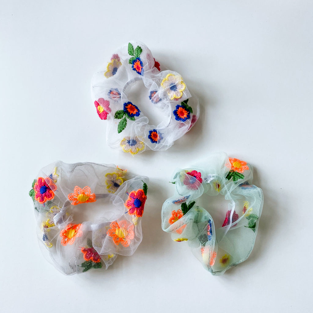 Embroidered Hair Scrunchie - 11 & THOMS