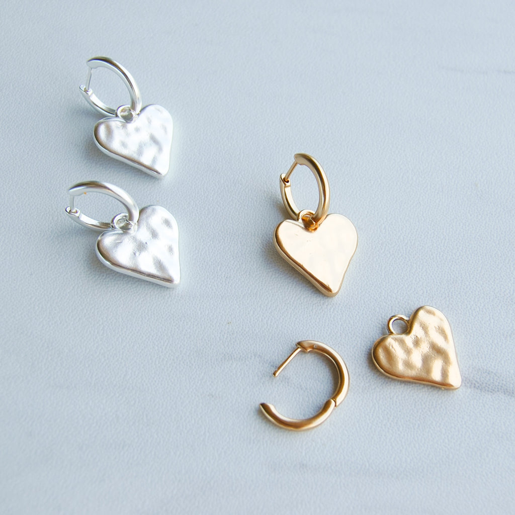 Get Hammered Heart Earrings - 11 & THOMS