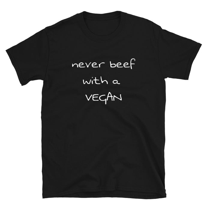 NEVER  BEEF WITH A VEGAN Short-Sleeve Unisex T-Shirt
