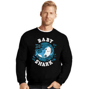 Shirts Crewneck Sweater, Unisex / Small / Black Cute Baby Shark