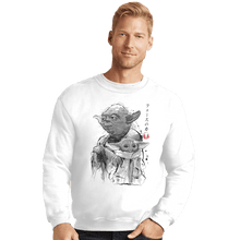 Load image into Gallery viewer, Shirts Crewneck Sweater, Unisex / Small / White Old And Young Sumi-e