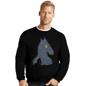 Shirts Crewneck Sweater, Unisex / Small / Black Hollywoo Starry Night