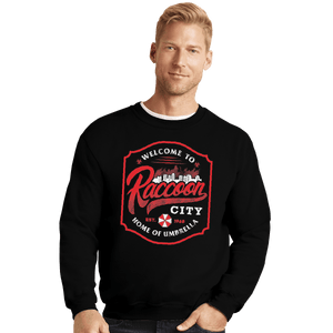 Shirts Crewneck Sweater, Unisex / Small / Black Raccoon City