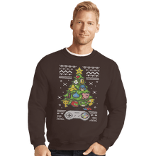 Load image into Gallery viewer, Shirts Crewneck Sweater, Unisex / Small / Dark Chocolate A Classic Gamers Christmas