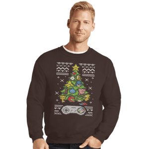 Shirts Crewneck Sweater, Unisex / Small / Dark Chocolate A Classic Gamers Christmas