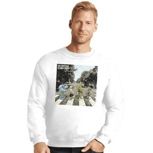 Shirts Crewneck Sweater, Unisex / Small / White Flabby Road