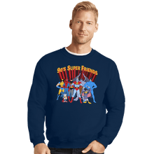 Load image into Gallery viewer, Shirts Crewneck Sweater, Unisex / Small / Navy 90s Super Friends