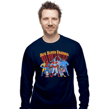 Load image into Gallery viewer, Shirts Long Sleeve Shirts, Unisex / Small / Navy 90s Super Friends