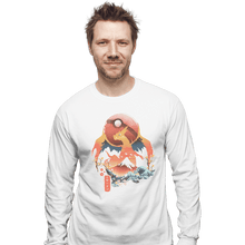 Load image into Gallery viewer, Shirts Long Sleeve Shirts, Unisex / Small / White Fire Ninja