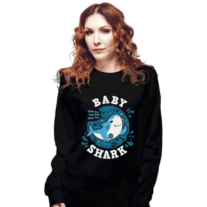 Shirts Long Sleeve Shirts, Unisex / Small / Black Cute Baby Shark