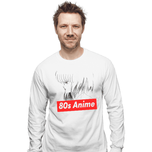 Shirts Long Sleeve Shirts, Unisex / Small / White 80s Anime