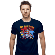 Load image into Gallery viewer, Shirts Fitted Shirts, Mens / Small / Navy 90s Super Friends