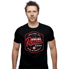 Load image into Gallery viewer, Shirts Fitted Shirts, Mens / Small / Black Raccoon City