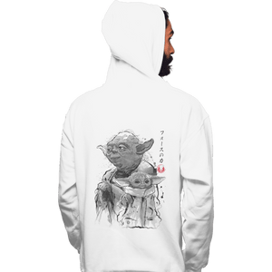 Shirts Zippered Hoodies, Unisex / Small / White Old And Young Sumi-e