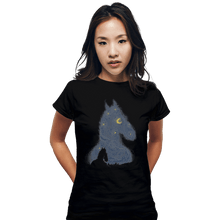 Load image into Gallery viewer, Shirts Fitted Shirts, Woman / Small / Black Hollywoo Starry Night