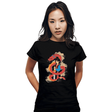 Load image into Gallery viewer, Shirts Fitted Shirts, Woman / Small / Black Mulan And The Dragon