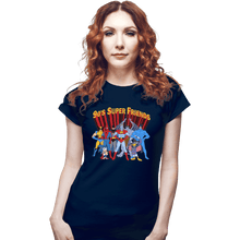 Load image into Gallery viewer, Shirts Fitted Shirts, Woman / Small / Navy 90s Super Friends