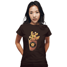 Load image into Gallery viewer, Shirts Fitted Shirts, Woman / Small / Black Pika Pika Coffee