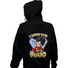 Load image into Gallery viewer, Shirts Zippered Hoodies, Unisex / Small / Black I Love You Over 9000