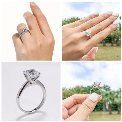 Solitaire Ring Cushion White Created Diamond Solitaire Ring