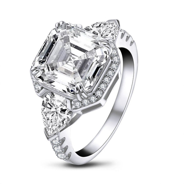 Three Stone Engagement Ring Brilliant Asscher Created Diamond 3-stone Rings