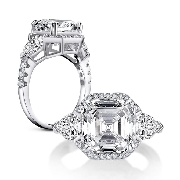 Three Stone Engagement Ring US4 Brilliant Asscher Created Diamond 3-stone Rings