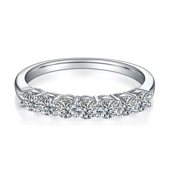 Moissanite Ring Round Cut 3mm Moissanite Diamond Half Eternity Ring