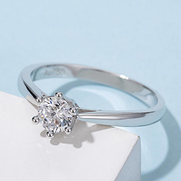Moissanite Ring Classic Round Cut Moissanite Crown Ring