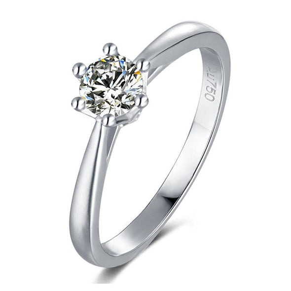 Moissanite Ring 4.5 Classic Round Cut Moissanite Crown Ring