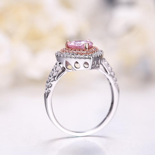 Classic Engagement Ring Double Halo Heart Shaped Pink Created Diamond Ring
