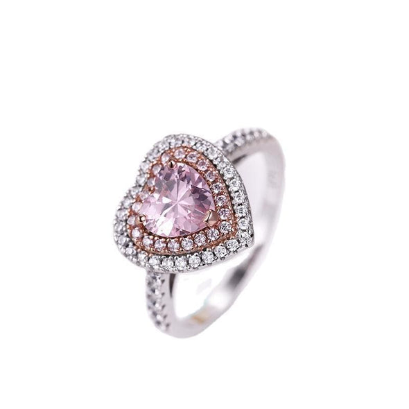 Classic Engagement Ring 5 Double Halo Heart Shaped Pink Created Diamond Ring