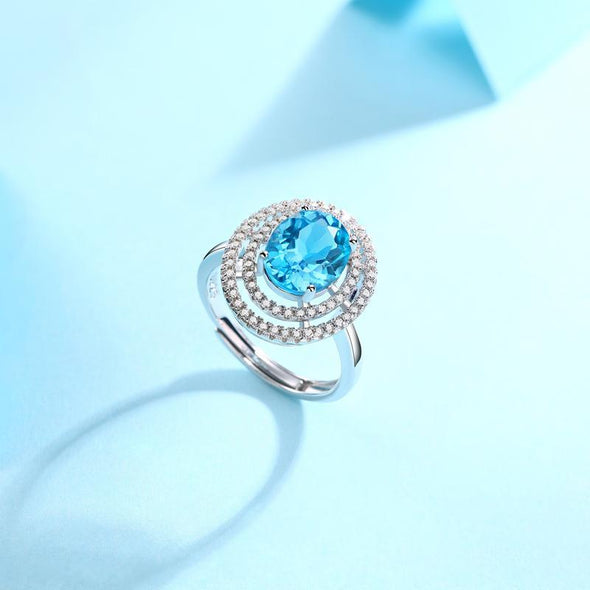Gem Stone Ring Natural Blue Topaz Oval Cut Double Halo Ring Adjustable Size