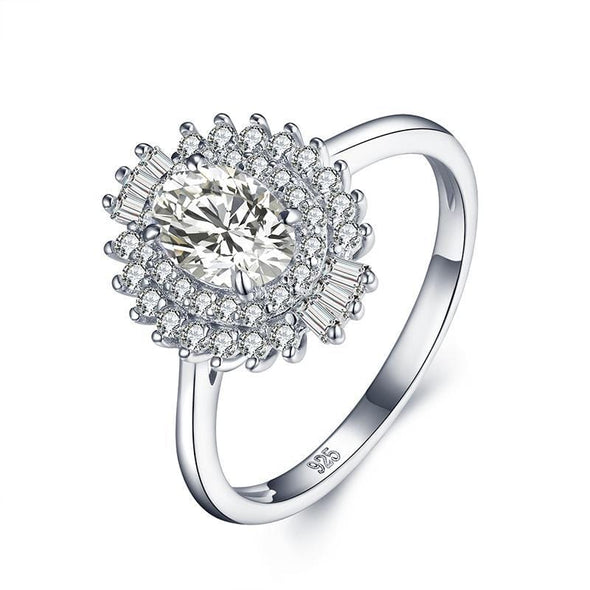 Halo Ring Halo Oval Cut Created White Diamond Ring