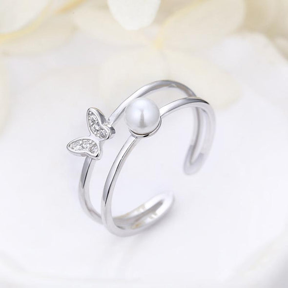 Fashion Ring Pearl Round Cut Created White Diamond Knot Ring