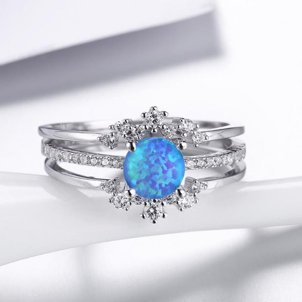 Trio Ring 5 Round Cut Opal Round Cut Created Diamond Trio Ring