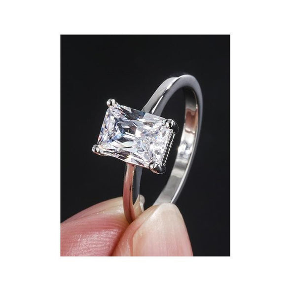Fashion Ring 6 Radiant Cut 8*10mm Created Diamond Simple Ring