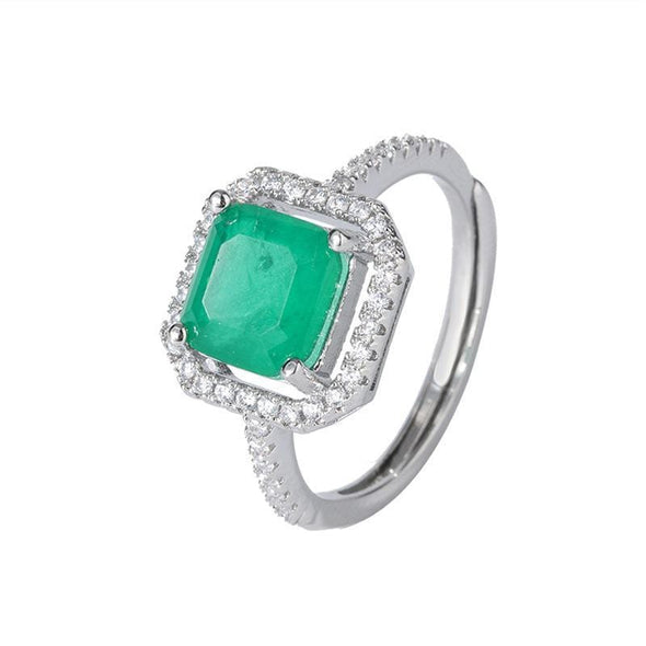 Gem Stone Ring 6 Asscher Cut 8*8mm Lab Created Emerald Vintage Halo Ring