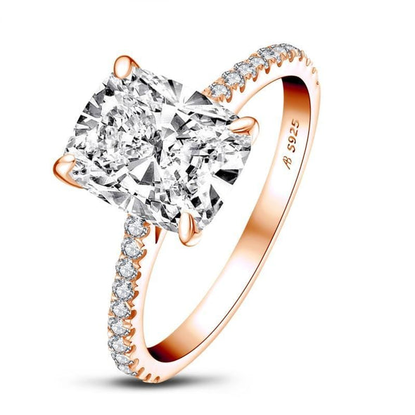 Classic Engagement Ring US5 / Red Cushion Cut Rose Gold White Gold Plated Created Diamond Ring