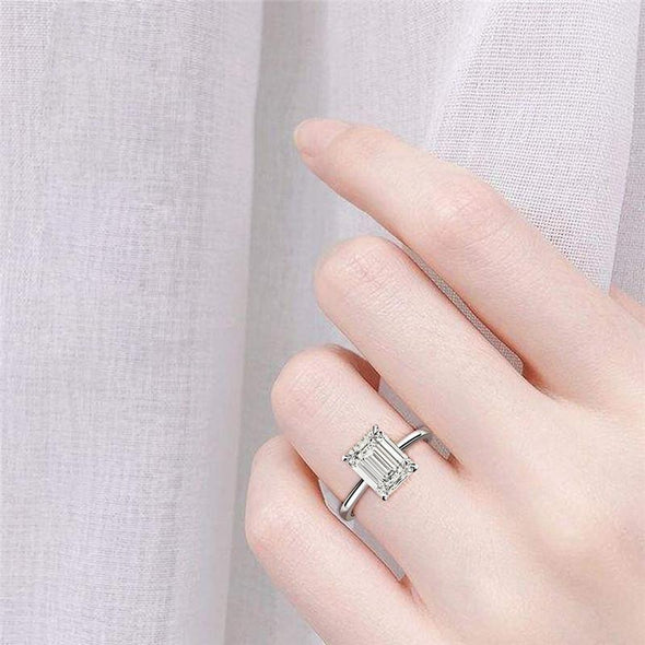 Solitaire Ring Emerald Cut Created White Diamond Solitaire Ring