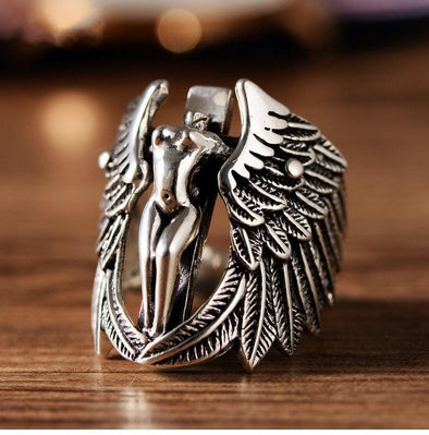 Men's Ring Vintage Guardian Angel Wing Men Jewelry Ring FHR103