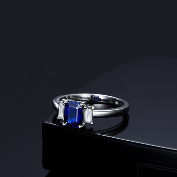 Three Stone Engagement Ring 3-Stone Blue Emerald Cut 1ct Created Diamond Ring