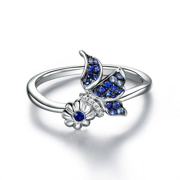 Animal Ring US4 Butterfly Created Blue Diamond Ring