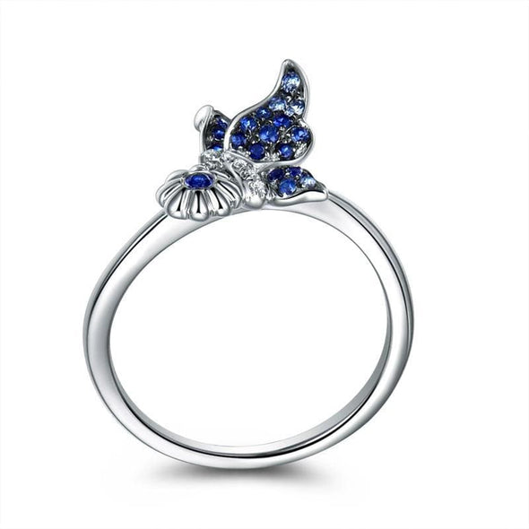Animal Ring Butterfly Created Blue Diamond Ring